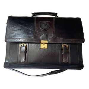 Black and Brown Leather Briefcase with Strap